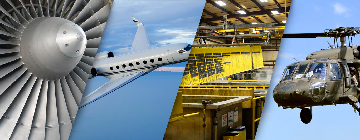 Collage image of a jet engine, commercial jet, aerostructures fabrications, and a military helicopter.